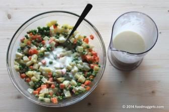 6. Amalgama maionese e verdure e riponi in frigo