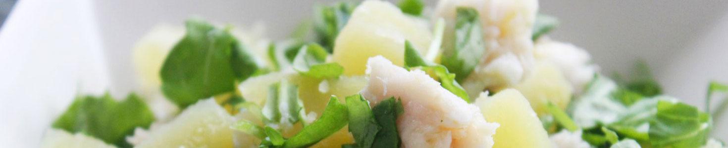 Insalata di merluzzo con patate e rucola