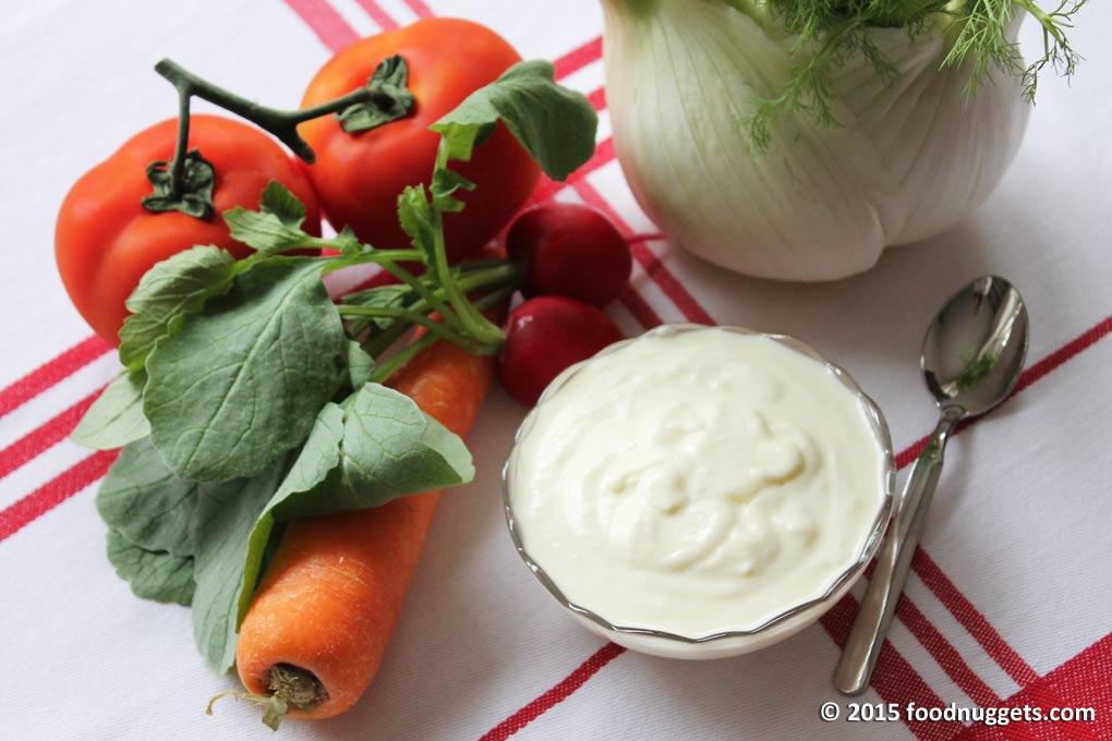 Crema di mozzarella con verdure di stagione