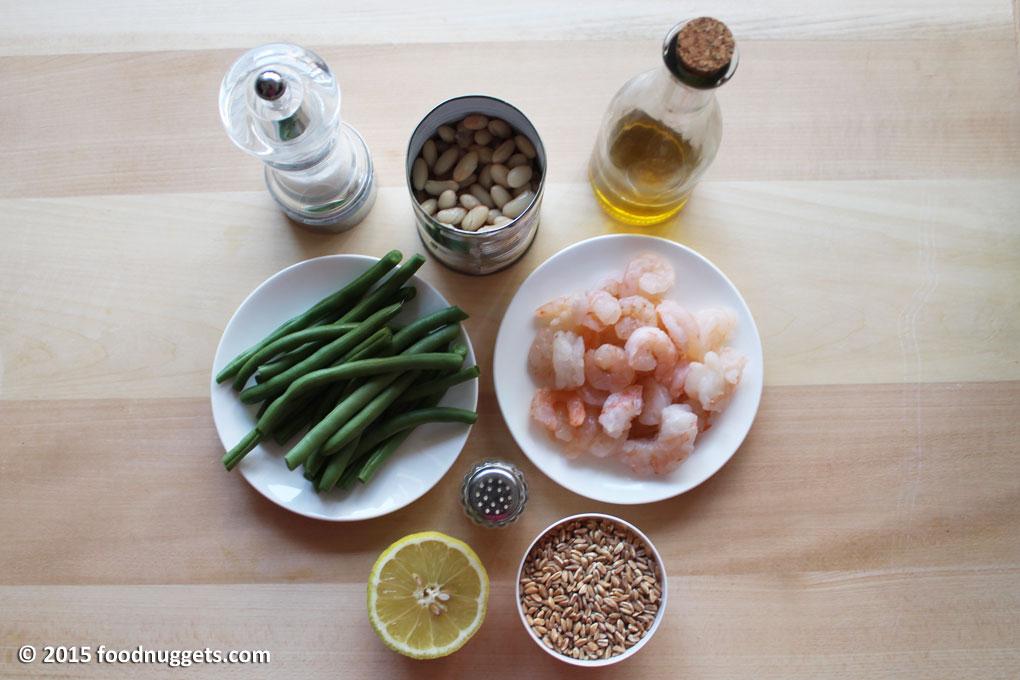 Ingredienti: fagiolini, gamberi, fatto, limone, cannellini, olio, sale, pepe