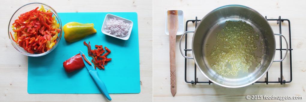 Peperoni tagliati e scalogno tritato, scalogno in cottura