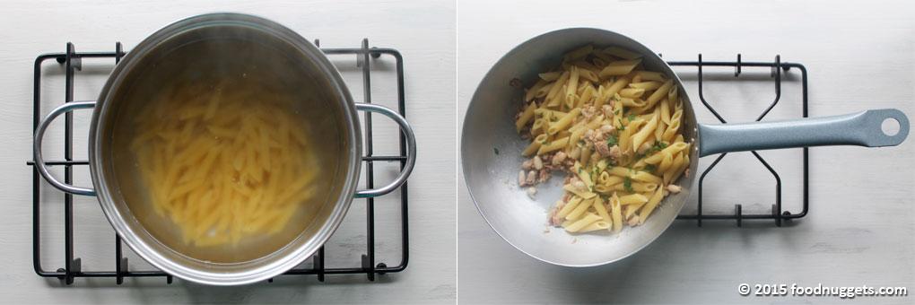 Pasta in cottura, pasta saltata