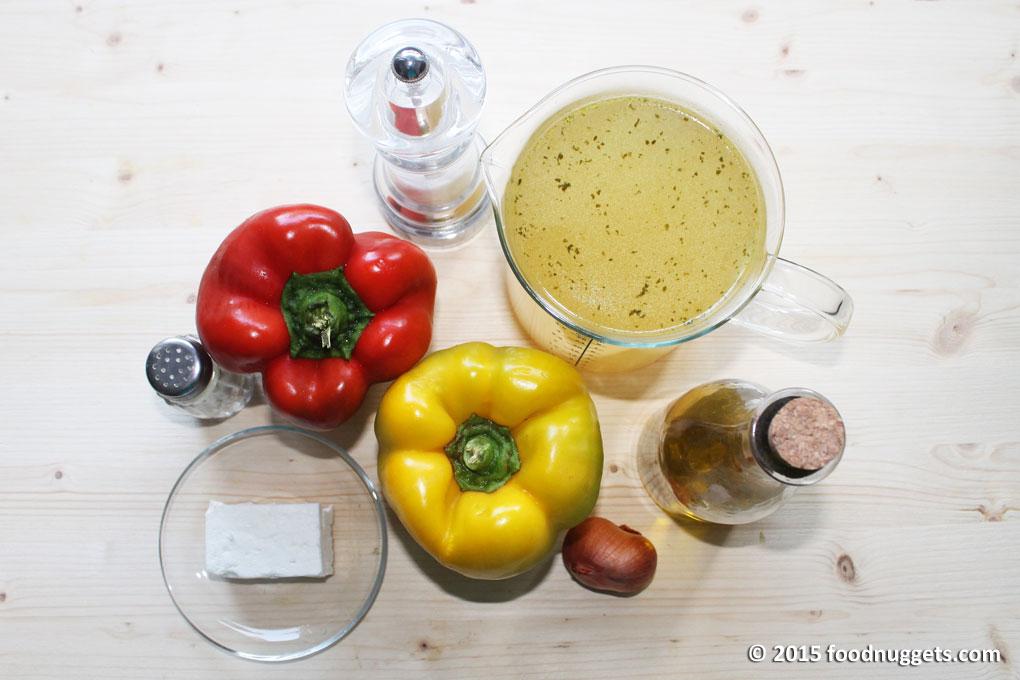 Ingredienti vellutata fresca di peperoni con feta