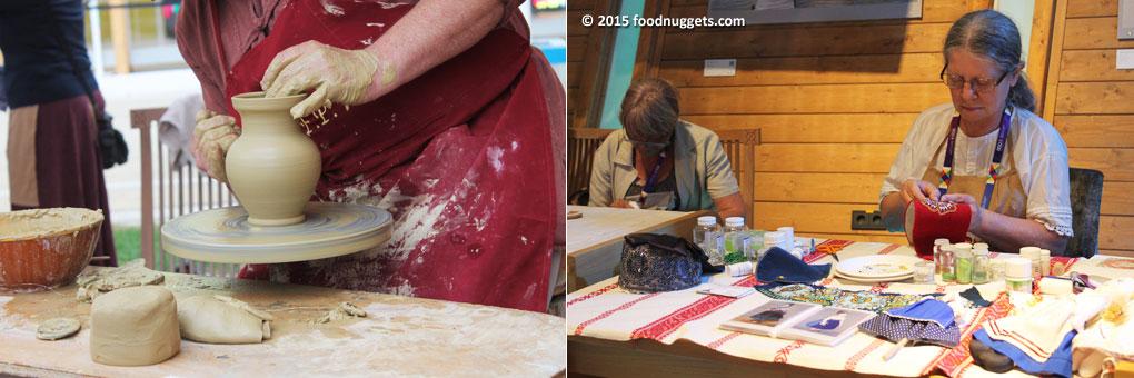 Artigiani all'opera nel Padiglionde dell'Ungheria in Expo