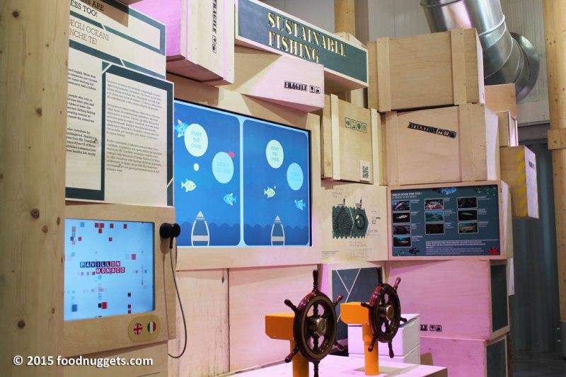 La stazione tematica sulla pesca sostenibile nel padiglione del Principato di Monaco