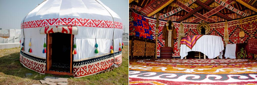 Esterno e interno della yurta collocata sulla terrazza del Kazakhstan in Expo
