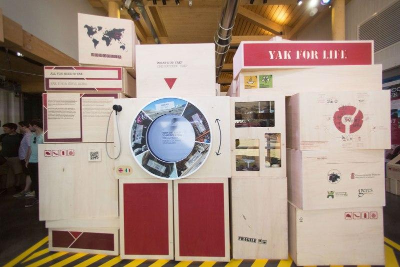 La stazione Yak for life del padiglione del Principato di Monaco in Expo