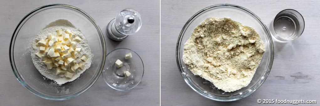 Burro, sale e farina nella ciotola con bicchiere d'acqua