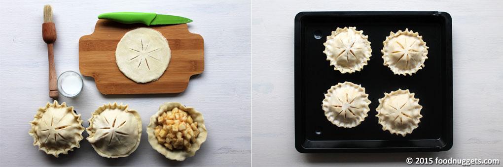 Copertura delle Mini Apple Pie e disposizione nella teglia