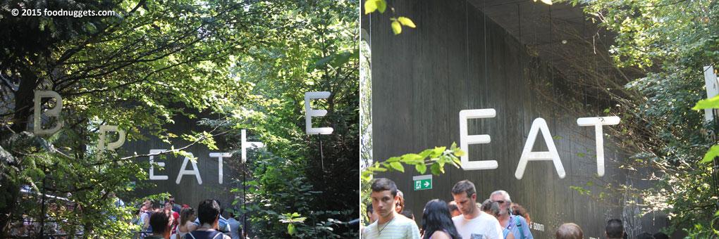 """Insegna """"Breathe"""" e """"Eat"""" all'entrata del padiglione austriaco in Expo"""