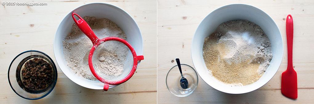 Uvetta ammollata e preparazione dell'impasto