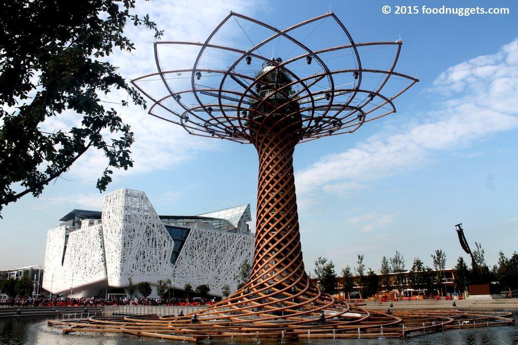 Albero della vita di Expo Milano 2015 e Palazzo Italia sullo sfondo