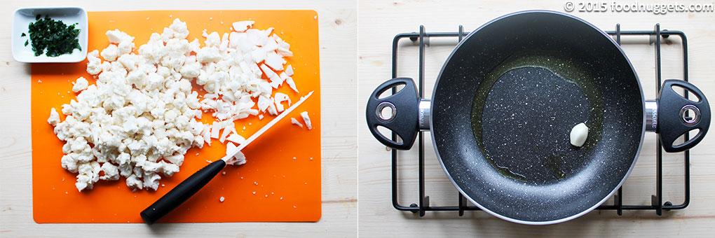 Prezzemolo e cavolfiore tagliati, aglio soffritto
