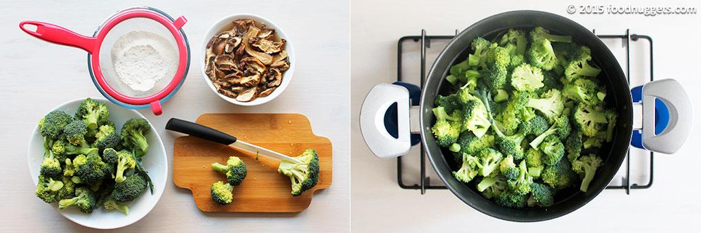 Farina setacciata, funghi ammollati, broccoletti tagliati e broccoletti in cottura