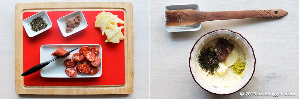 Preparazione degli ingredienti per i pintxos baschi e del burro al limone