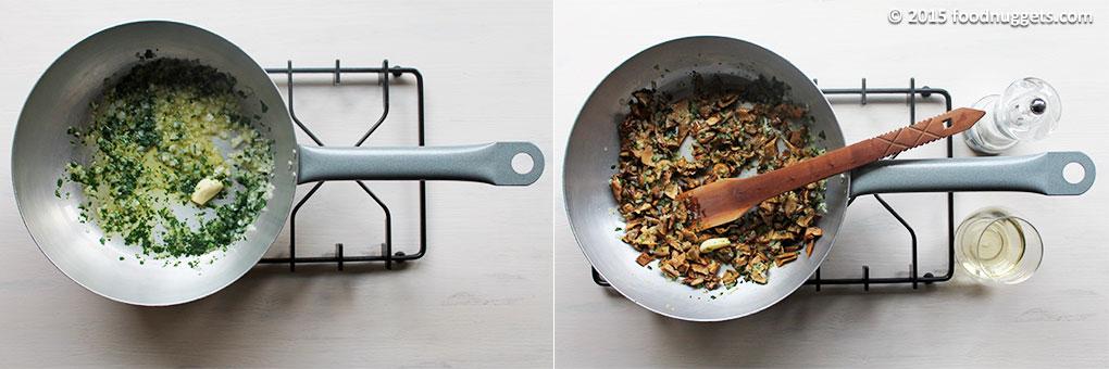 Soffritto di cipolla, aglio e prezzemolo con funghi a pezzi