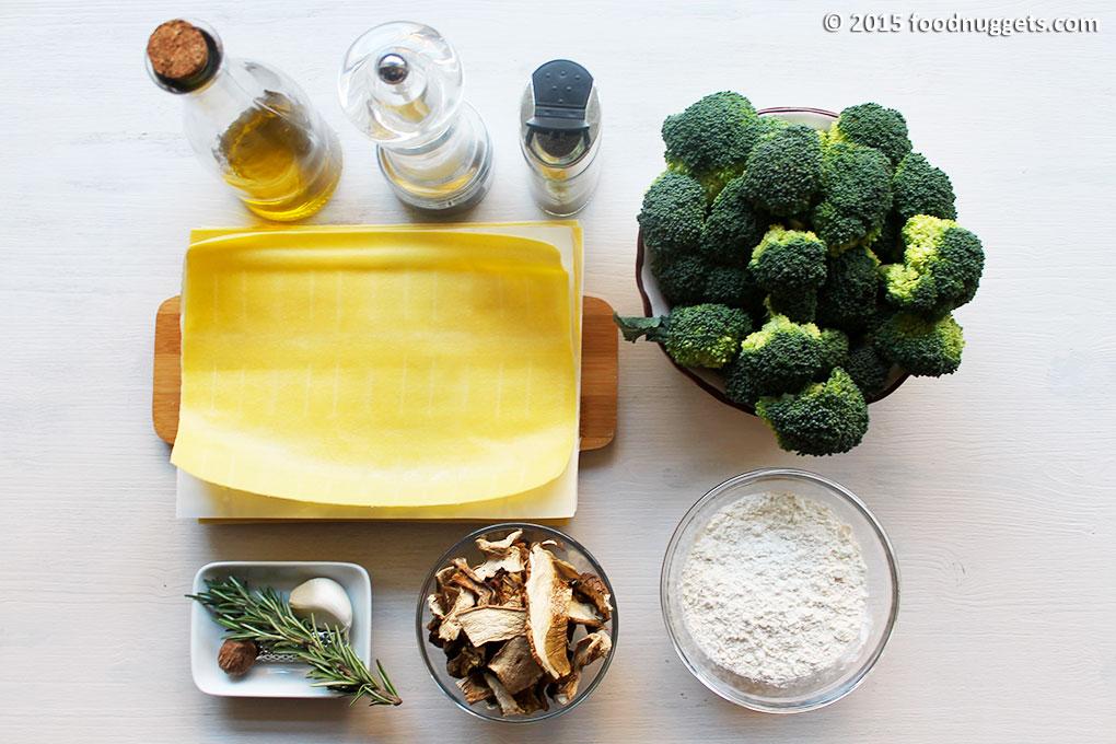 Ingredienti per le lasagne veg con funghi e broccoletti