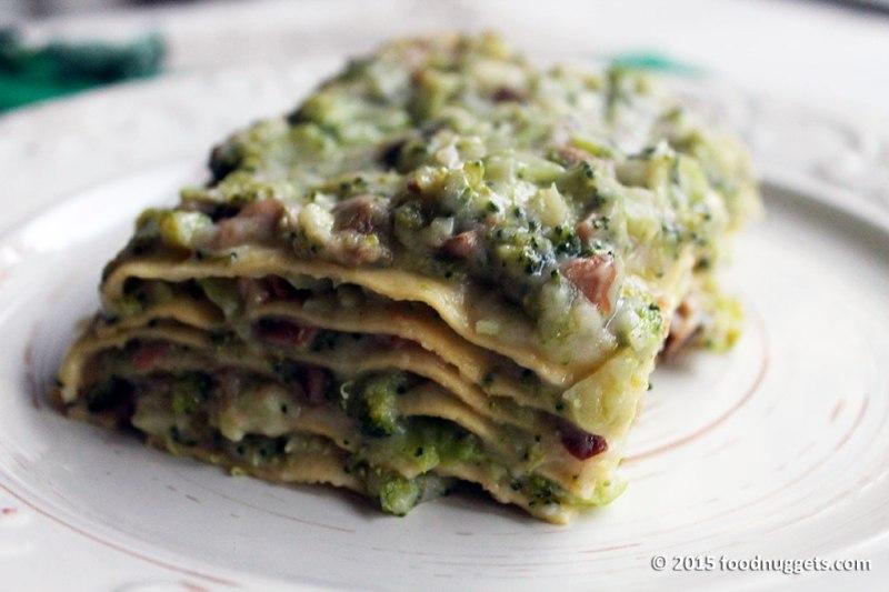 Lasagne veg con funghi e broccoletti