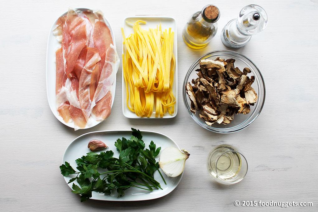 Ingredienti delle tagliatelle con culatello e porcini