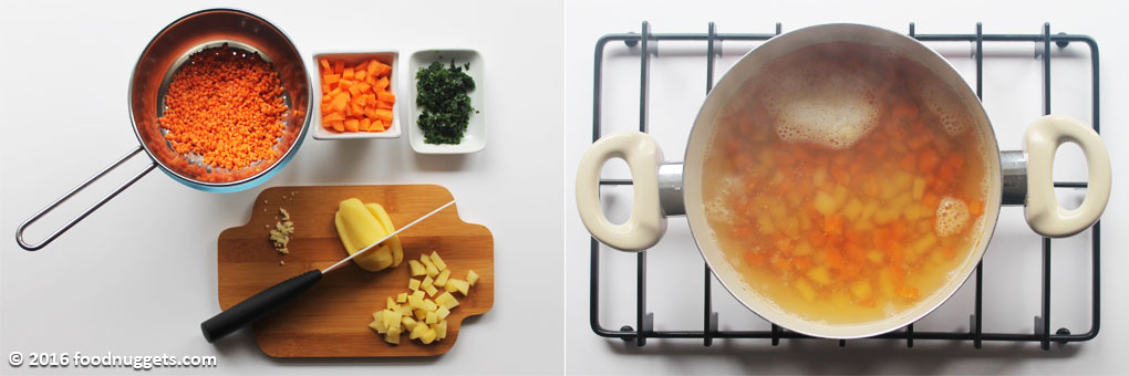 Verdure tagliate a cubetti, aromi tritati, lenticchie lavate; lenticchie e verdure in cottura