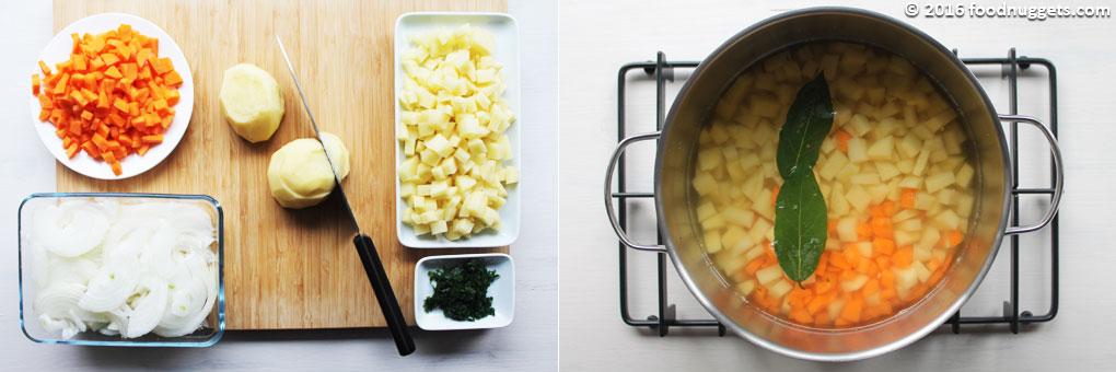 Verdure tagliate e verdure in cottura