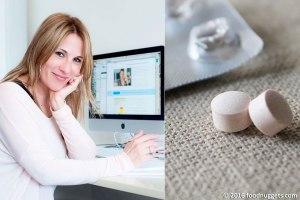 La nutrizionista Annalisa Pediroda e le compresse di integratore alimentare di enzima lattasi