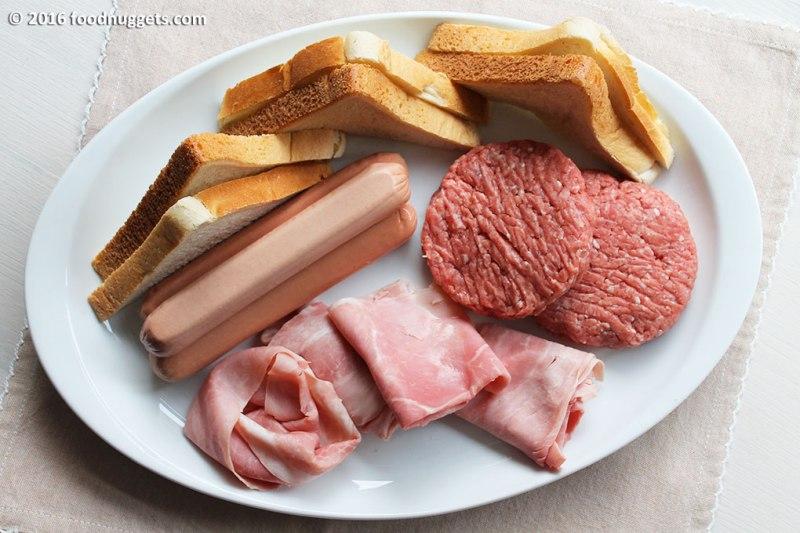 Pancarrè, wuerstel, prosciutto cotto e hamburger