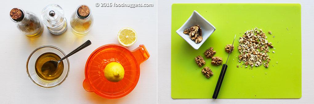 Preparazione della vinaigrette, spremitura del limone e taglio dei gherigli di noce