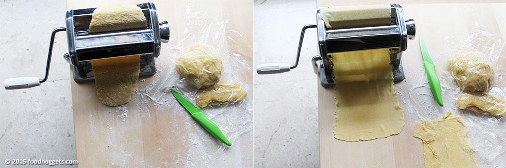 Lavorazione dell'impasto alla macchinetta tirapasta