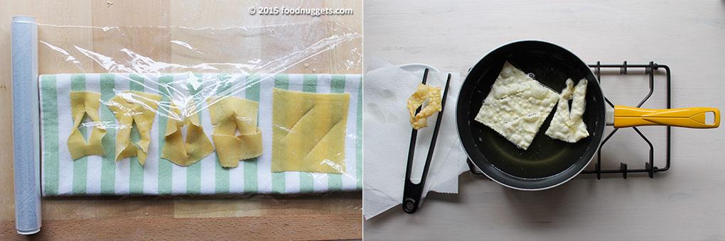 Chiacchiere tagliate e in frittura