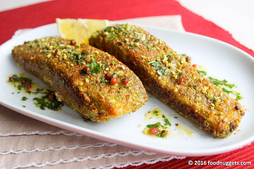 Salmone in crosta di pistacchi e pepe rosa