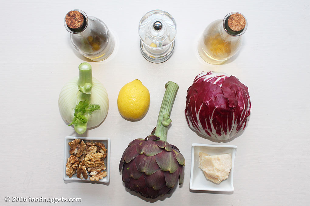 Olio, sale, aceto di mele, finocchio, limone, radicchio rosso, carciofo, noci e grana