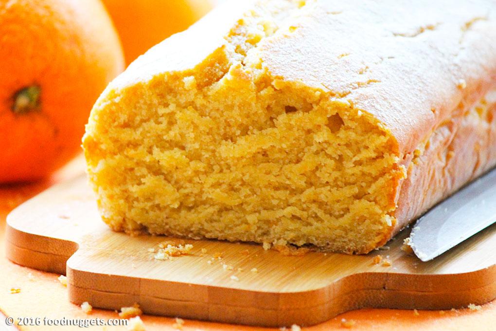 Plumcake vegano all'arancia affettato