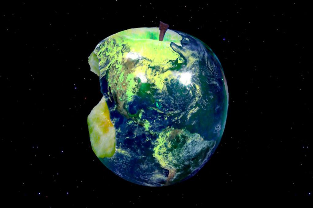Pianeta Terra a forma di mela morsicata