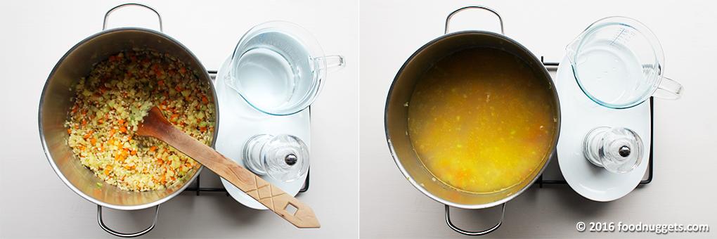 Farro aggiunto alle verdure e cottura con l'acqua