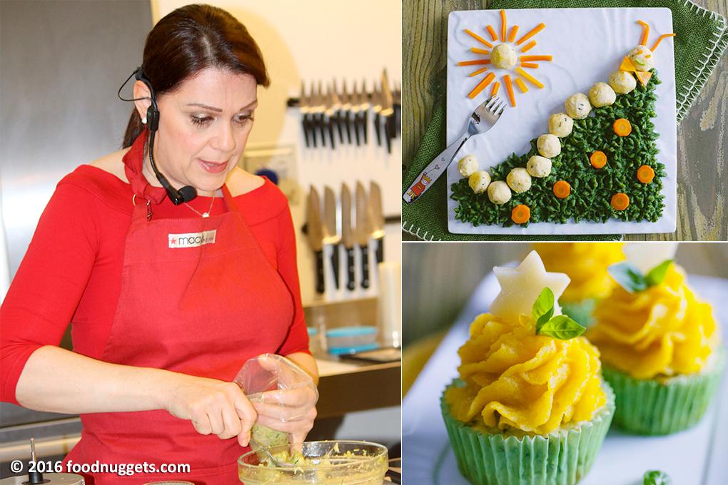Sonia Peronaci con i suoi piatti: bruco di polpette di pollo e cupcake di zucca