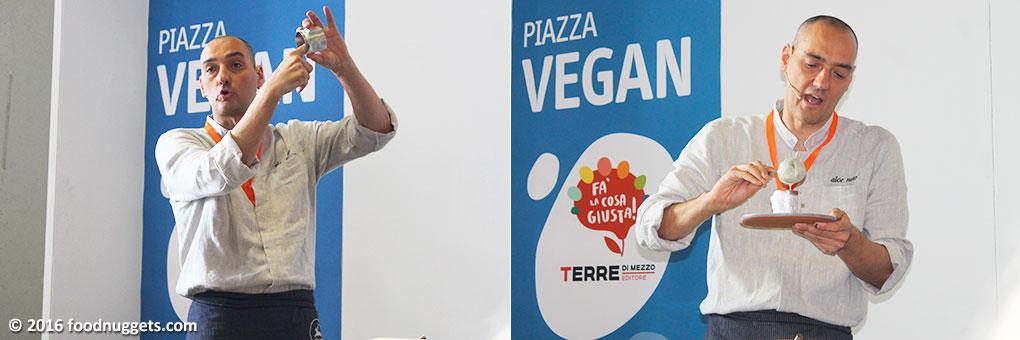 Lo chef Simone Salvini prepara un dolce vegan e glutenfree